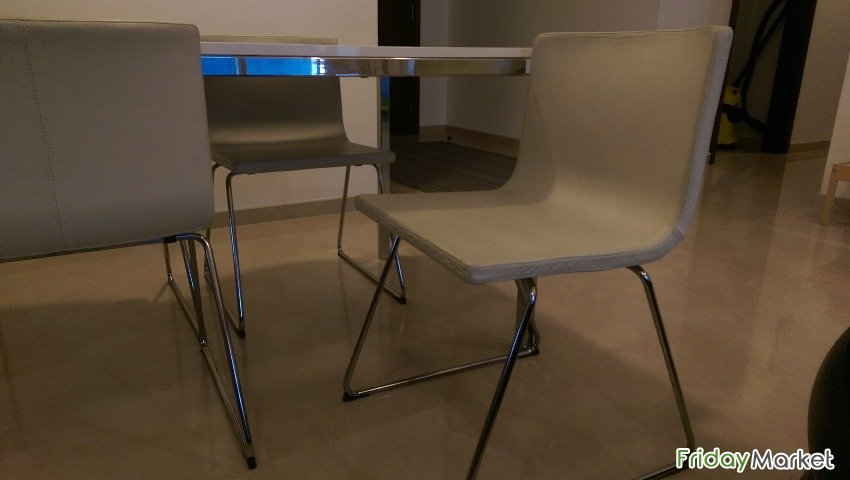 Ikea High Gloss Surface White Dining Table And 4 Chairs In