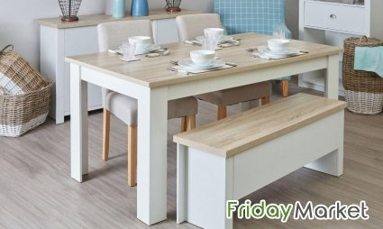 Small Or Large Dining Table With Benches
