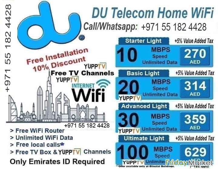 Du Home Internet Connection FREE Installation Discount 0551824428 Sharjah UAE